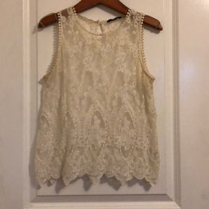 Cream lace detailed tank top size small✨